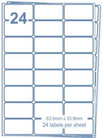 Etichette EJRange 24 per foglio A4, 100 fogli Etichette totali 2400 etichette, etichette adesive per indirizzi postali-Compatibile con stampanti a getto d'inchiostro e laser -