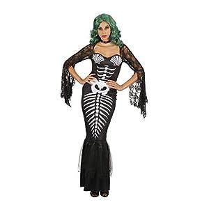 Bristol Novelty AF095 - Esqueleto de sirena para mujer, color negro, blanco, talla única