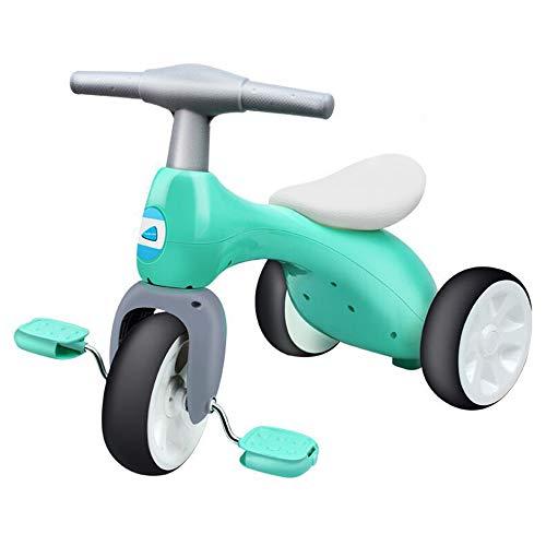 ZWX Kinderdreirad, dreirädriges Kinderrad, Kinder-Heimtrainer, Einzelbalancesicherheitsdesign, leicht zu tragen, Abriebfeste ungiftige Materialien, 2-6 Jahre alt,Grün