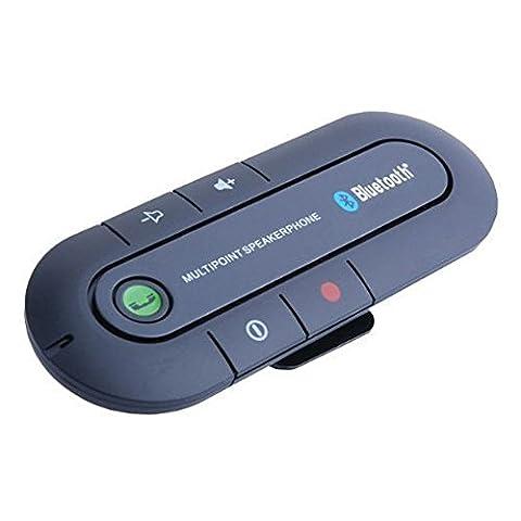 ULTRICS® In Car Haut-parleur Bluetooth, Kit voiture mains libres sans fil Bluetooth Sun Visor Portable Multipoint Microphone de suppression de bruit pour Apple iPhone Samsung Galaxy LG HTC Nokia et autres Bluetooth téléphone pris en charge.
