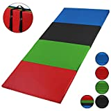 ALPIDEX Klappbare Leichtschaum Turnmatte 240 x 120 x 5 cm RG 18 mit Klettecken 3fach klappbar mit Antirutschboden, Farbe:Bunt