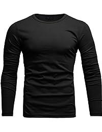 f0e827cf5d9066 Crone Essential Basic Herren Slim Fit Langarm Rundhals Shirt Longsleeve T- Shirt Sweatshirt in vielen Farben…