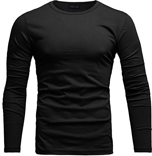 Crone Essential Basic Herren Slim Fit Langarm Rundhals Shirt Longsleeve T-Shirt Sweatshirt in vielen Farben (L, Schwarz)