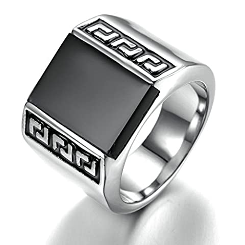 Stainless Steel Ring for Men, Square Ring Gothic Silver Band