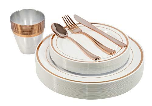 150 Stück - Gold Einwegteller, Becher und Fancy Kunststoff Silbergeschirr Set - für Partys, Abendessen, Hochzeiten und Weihnachten (Roségold) rose gold