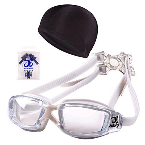 Big Box Goggles Plating flache Schwimmbrille Wasserdicht Anti-Fog Männer und Frauen Schwimmen Gläser Cap Set,C