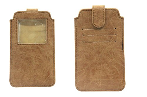 Jo Jo A10 Classic Leather Carry Case Pouch Wallet S View for Micromax Canvas Duet AE90 Tan