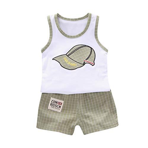 Engel Plaid Shorts (Zylione Jungen Kleidung Set Kinder Baby Weste Cartoon Brief Shirt + Plaid Shorts Zweiteilige Anzug)