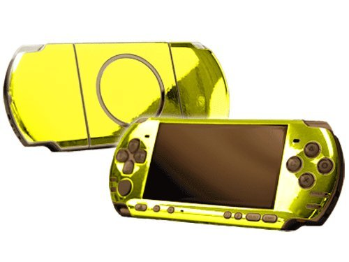Sony Play Station Portable 3000 (Psp 3000) Skin New Yellow Chrome Mirror System Skins Faceplate Decal Mod