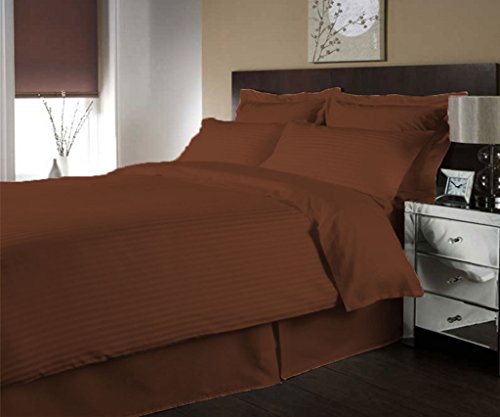 scalabedding Luxe 300Fäden aus ägyptischer Baumwolle Streifen Bettbezug farblich und Decken Kissenbezug Cal König braun (Ägyptische Baumwolle Streifen-decke)