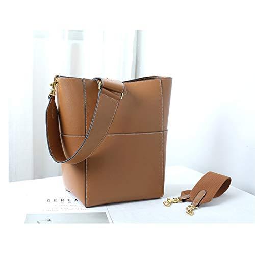 Uzanesx Schultertasche Zurück Diagonaltasche Frauen 2 Weg Ultra große Kapazität Echtes Leder (Kaffee, rot) (Color : Brown) -
