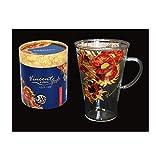 """Carmani - Tazza per caffè e latte, cappuccino, in vetro dipinto con""""girasoli"""" di Vincent Van Gogh"""