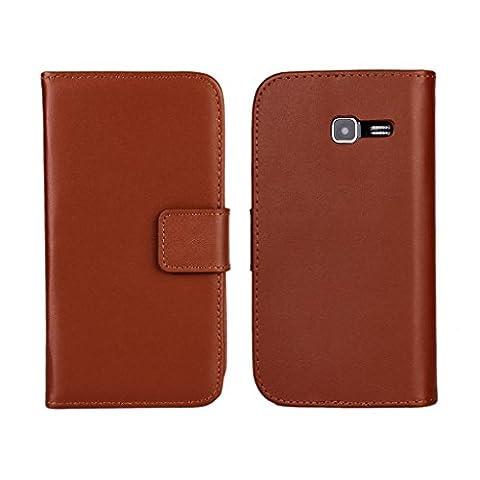 UKDANDANWEI Samsung Galaxy Fresh Hülle - Book-Style Wallet Case Flip Cover Etui Tasche Case mit Standfunktion Für Samsung Galaxy Fresh GT-S7390/Trend Lite/S7392 Duos Braun