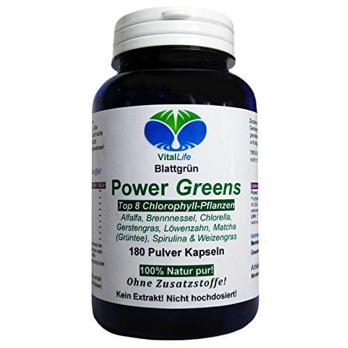 Power Greens Top 8 Chlorophyll Pflanzen 180 Pulver Kapseln Natur Pur NICHT hochdosiert KEIN Extrakt OHNE Zusatzstoffe OHNE Füllstoffe. Hergestellt und abgefüllt in Deutschland. 26332 -