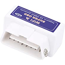 Qiilu Super Mini WiFi Interfaccia V1.5 OBD2 OBDII Auto Strumento Scanner Diagnostico con CD Driver per iPhone Android Mac(Bianco)