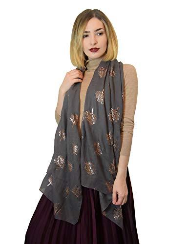 Sew elegant sciarpa stampata da donna in oro rosa con foglie d'oro (grigio scuro)