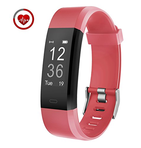 Fitness Tracker Vigorun YG3 Plus Orologio Fitness Monitoraggio della frequenza cardiaca Bluetooth Pedometro Calorie Promemoria sedentario Multiple Sports Mode per Android e iOS (Rosso)