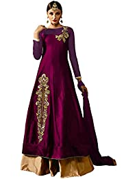 AnK Women's Tapeta Dress Material (Pink@Gold_Free Size_Pink)