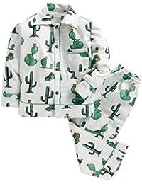 Kids Clan Beautiful Green Cactus Print Sleepwear Cotton Shirt with Pant for Kids
