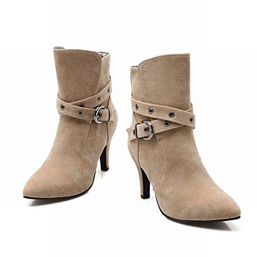 Mee Shoes Damen modern Nubukleder Schnalle-Dekoration Knöchelstiefel Beige