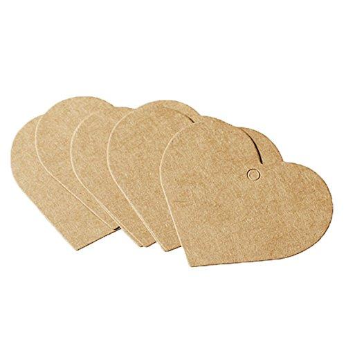 Herzform Kraftpapier Tags Selbstgestalten Anhänger Etiketten DIY Deko Hochzeit Party Etikett Preisschild Schilder Geschenk Anhänger Kofferanhänger Label,6.5 x 5 cm (Diy-hochzeit Geschenk)