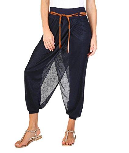 (KRISP 4866-NVY-S: Pumphose Aladin Yoga Baggy Style (Marineblau, Gr.S))