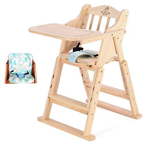 LXLA - Hochstuhl aus Holz mit Kissen - Verstellbarer Faltbarer Kinderhochstuhl, for Babys und Kleinkinder oder als Esszimmerstuhl (ohne Farbe) (Color : Package 1) (Outdoor-hochstuhl Kissen)