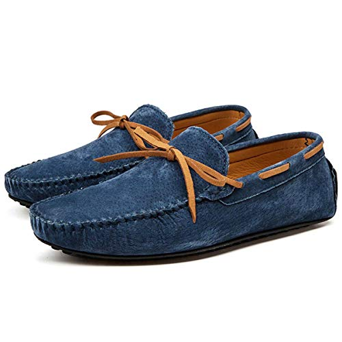 Casual Men Genuine Leather Shoes Summer Breathable Green Men's Loafers Leather Shoes Sapato Masculino Zapatos Hombre 01 Dark Blue 13 -