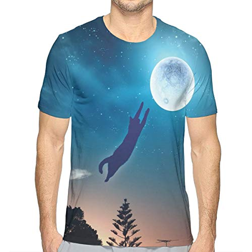 e86695e2f 3D Printed T Shirts,Cat Jumping In The Air Catching The Moon At Night Sky  with Stars Fantasy Artwork L