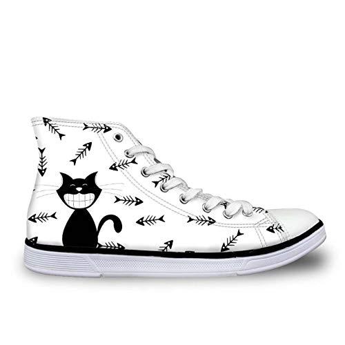 MLULPQ& Lovely Cat Hi Tops Plimsolls Women Girls Canvas Sneakers Flat Designs Halloween White+Fishbone UK 5