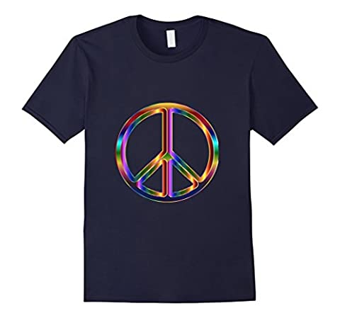 Rainbow Psychedelic Groovy Peace Sign t-shirt Male 2XL
