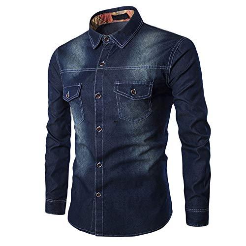 B-COMMERCE Herren Herren Hemd Denim, Langarm Jeanshemd Männer Casual Shirt Bluse Schlankes 5 Farbe mit Tasche (Taschen Casual Shirt Männer)