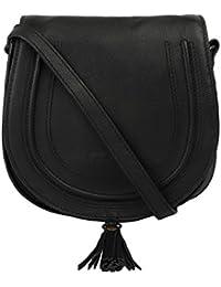 Hippo Women's Genuine Leather Sling Bag Black-UP-KTP#02_BK