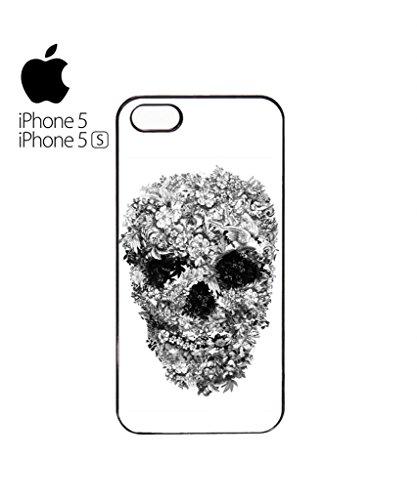 Skull Flower Retro Vintage Funny Hipster Swag Mobile Phone Case Back Cover Hülle Weiß Schwarz iPhone 5&5s Black Schwarz