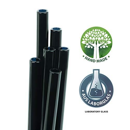 6 Pack With Cleani STRAWGRACE Handmade Black Glass Straws 13 cm x 8 mm Short