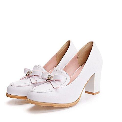 AllhqFashion Femme à Talon Correct Couleur Unie Tire Rond Chaussures Légeres Blanc