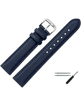 Uhrenarmband 16mm Leder blau glatt, mit Naht - inkl. Federstege & Werkzeug - bombiertes Ersatzarmband mit Kunststoffbeschichtung...