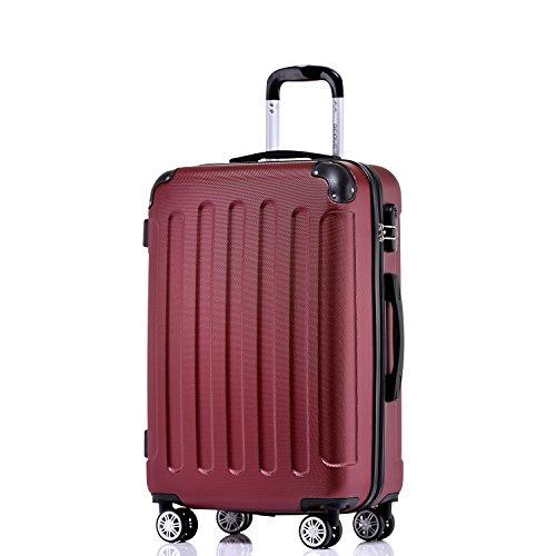 BEIBYE Hartschalen-Koffer Trolley Rollkoffer Reisekoffer Handgepäck 4 Rollen (M-L-XL-Set) (Weinrot, XL)