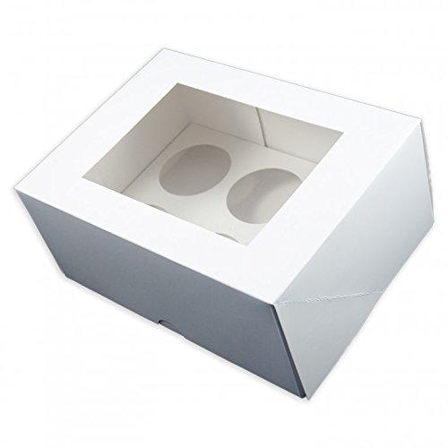 25,4 x 10,2 cm Deep Blanc Fée Cupcake/muffin Box et plateau pour 6 cupcakes