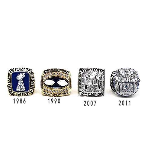 G-J Ringe Sportfans Ringe Sammlung Ring Herren Hochwertige Legierung Ring Champion Ring 4-Teiliges Set Dekorative Ringe/Bild/Nummer 12, Nummer 12 - York New Giants-stoff