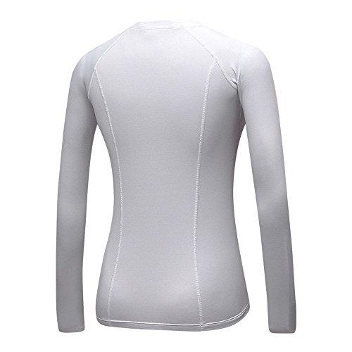 Dihope Femme Printemps Automne T-shirt Slim Fit Col Rond Top à Manches Longues Tee-shirt Casual pour Sport Fitness Blanc
