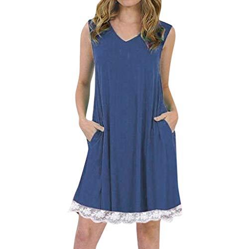 Sonojie Women V-Neck Sleeveless Spaghetti Strap Spitze Patchwork Plain Shift Dress (My Pony-clearance Little)