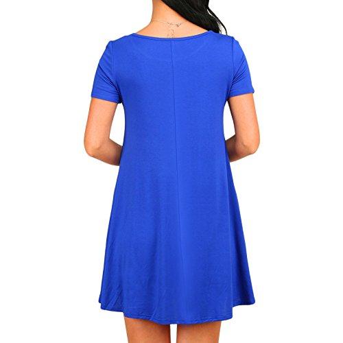 Frauen Mode Rundkragen Kurzarm Einfarbig Loose Beiläufige Kleid Minikleid Freizeitkleid Strandkleider Beachwear Blau