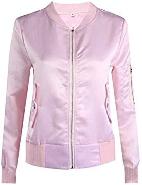 Ranboo Donne Autunno Bomber Satin Bicicletta Rivestimento Vestito Biker Retro Zip Up