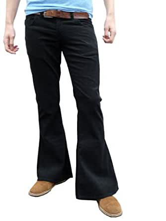 Mens retro black bell bottoms cord flares vintage 60s 70s style (30W30L)