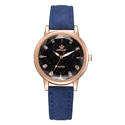 Luckhome Damen Einfach Armbanduhr Farbe Quarzuhr Analog Temperament Dame Unregelmäßige Spiegel Leder Gürtel Uhr Analoge Irregular Mirror Belt Watch Analoguhr Für(Blau)