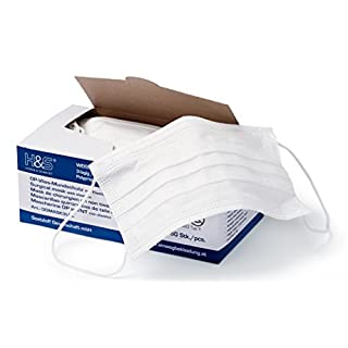 Surgical Face Masks by ISC H&S with Earloop 3 Ply, Pack of 50 Masks (White)