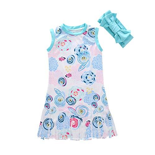 (Momorain Fashion Flower Toddler Infant Kids Baby Girl Sleeveless Tutu Dress with Bow Scarf Sundress Summer Suspender Mini Dress(Color:Light Blue)(Size:XL))