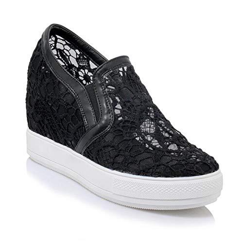 mogeek Damen Plateau Sneaker mit Keilabsatz Atmungsaktiv Sommer Freizeitschuhe(Schwarz,36 (Keil-sneaker Schuhe)