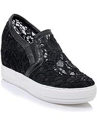 1c506b87a93889 mogeek Damen Plateau Sneaker mit Keilabsatz Atmungsaktiv Sommer  Freizeitschuhe
